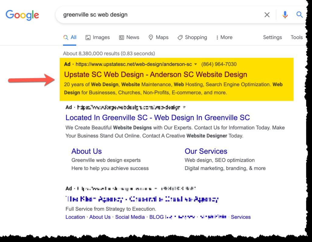 google ads greenville sc web design seo