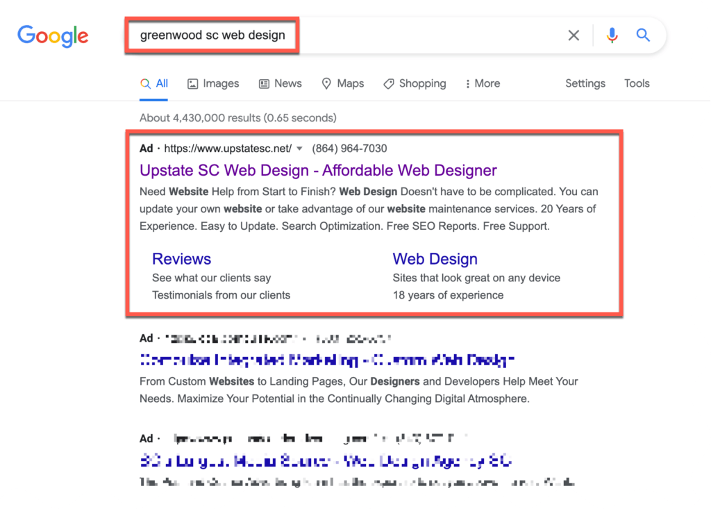 greenwood sc google ads