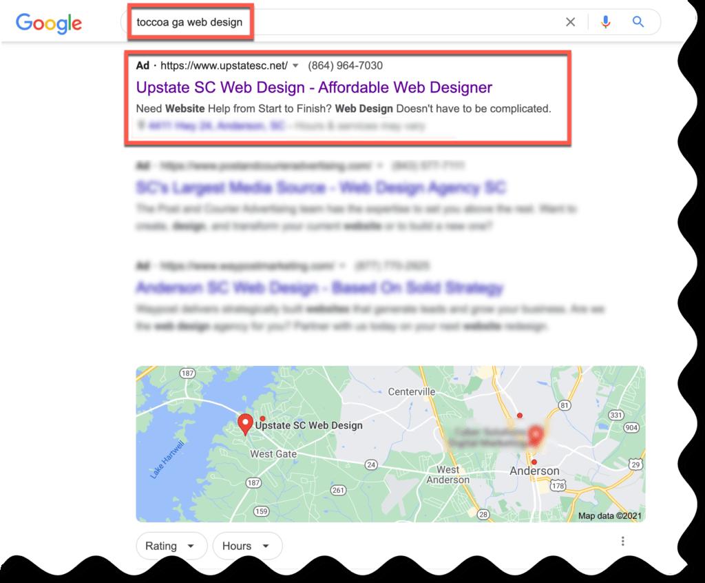 toccoa ga google advertising