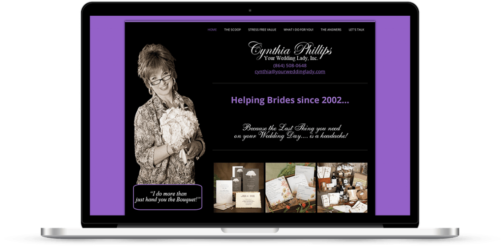 your wedding lady anderson sc web design