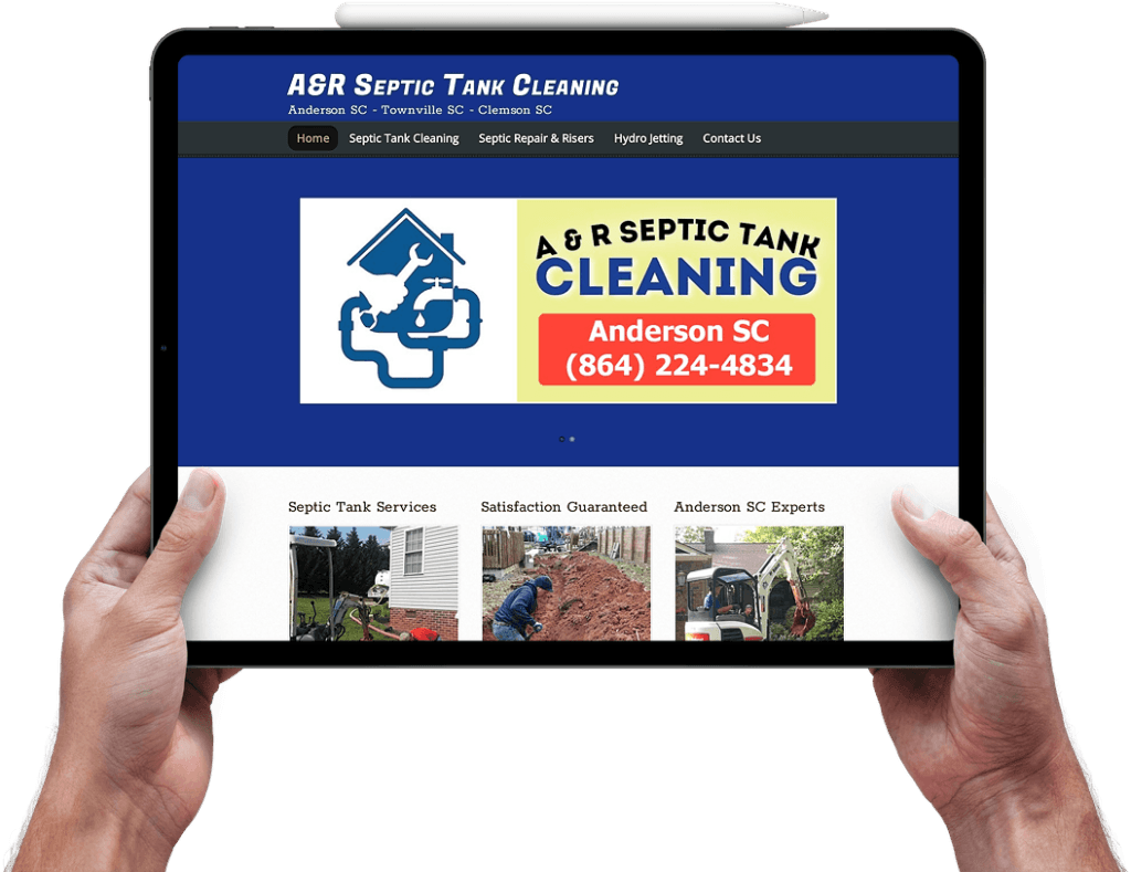 septic tank cleaning web design anderson sc